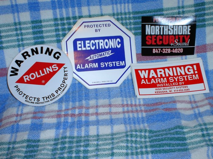 Security Alarm Window Stickers