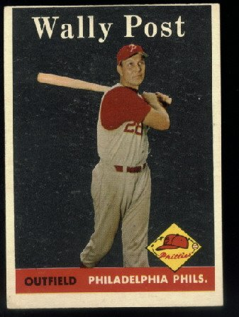 1958 Topps #387 Wally Post Philadelphia Phillies