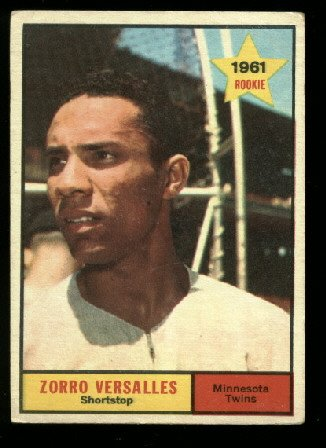 1961 Topps #21 Zorro Versalles RC rookie Minnesota Twins baseball card