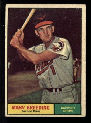 1961 Topps #321 Marv Breeding Baltimore Orioles baseball card