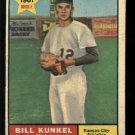1961 Topps #322 Bill Kunkel RC Kansas City Athletics rookie baseball card