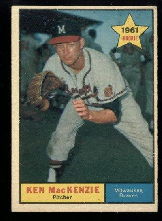 1961 Topps #496 Ken MacKenzie RC Milwaukee Braves rookie baseball card