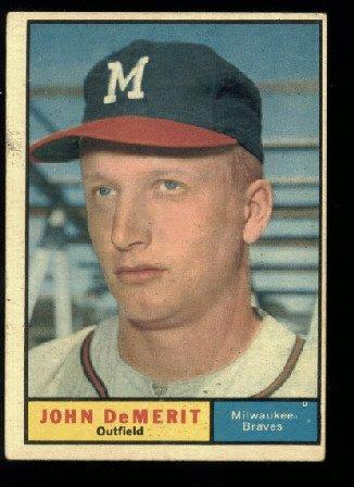 1961 Topps #501 John DeMerit Milwaukee Braves baseball card