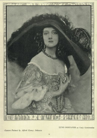 Vintage 1923 Full Page Portrait of Lynn Fontanne from hard bound version of magazine THE THEATRE