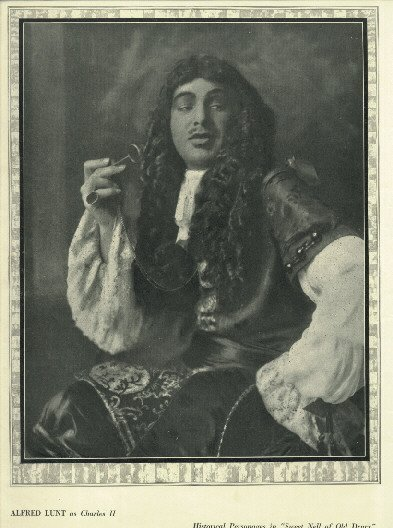 1923 vintage full page portait of Alfred Lunt as Charles II from THE THEATRE magazine HB publication