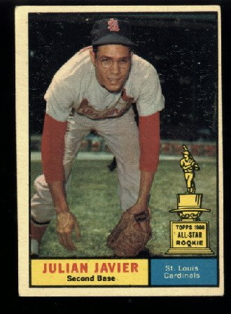 1961 Topps #148 Julian Javier St. Louis Cardinals All Star rookie baseball card