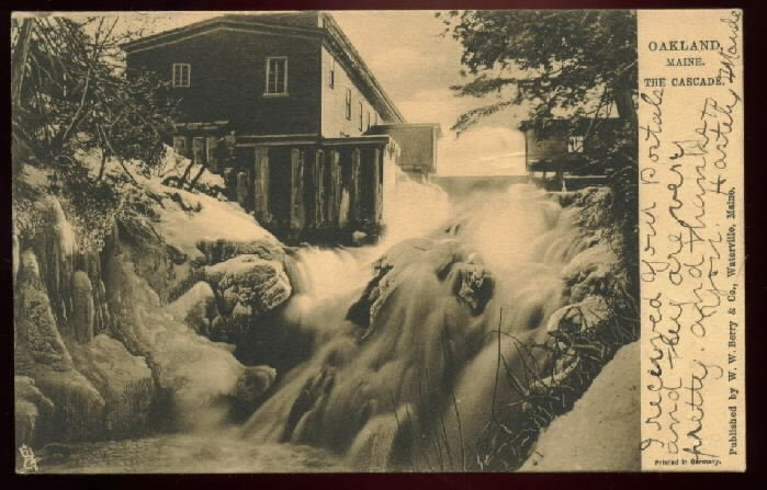 Raphael Tuck and Sons postcard THE CASCADE, Oakland Maine 2342 used RPO May 15, 1906