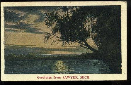 Greetings From Sawyer, Michigan  lake view      NYCE   July 10, 1931