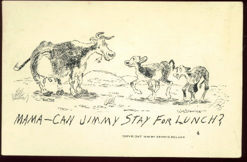 William standing signed postcard comic     Mamma Can Jimmy Stay for Lunch