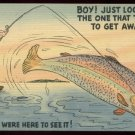Comic unused linen postcard. Fishing cartoon. Boy Just Look At The One That Tried To Get Away  F627