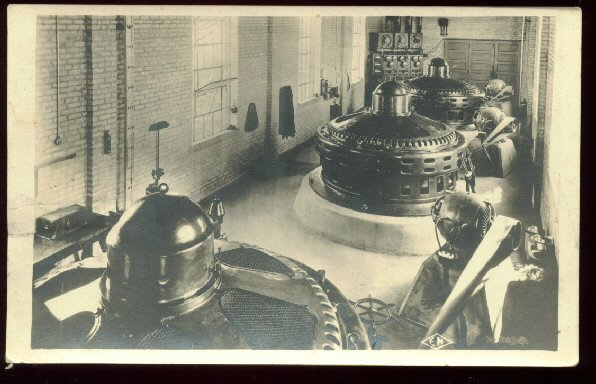 Real photo  postcard of 1920's turbine equipment room  unused AZO