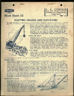 1927 electricians course ELECTRIC CRANES and ELEVATORS  L. L. Cooke School of Electricity