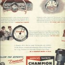 1950  Johnny Parsons  Ad CHAMPION spark plugs      Be A Champion Driver