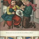 1950 Johnson & Johnson ad  Boy doctoring girl  art based from Glady's Rockmore Davis painting