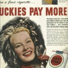 1950 Lucky Strike cigarette Ad   Luckies Pay More   Woman in parka