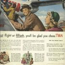 1950 TWA magazine ad Trans Word Airlines  Family boarding skyliner