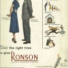 Ronson lighters 1950 magazine ad  Anytime's the Right Time 4 models