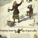 1950 Maxwell House Coffee color AD 10 1/4 x 13 1/2  Ice fishing scene signed by artist Lockhart