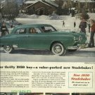 1950 Studebaker Land Cruiser magazine ad  green car  Ski Resort