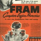 1950 Fram filters ad   Complete Engine Protection