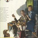 1950 Cigar Institute of America magazine ad with girl playing with doll and begging dog