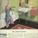 1950 Kohler ad plumbing fixtures  Cute girlsitting on tub with doll on shelf  Am I glad I live here