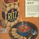 1950 Ritz cracker ad    Good company to soup   Nabisco