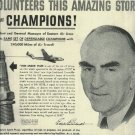 1950 CHAMPION spark plug full page ad   Capt. Eddie Rickenbacker volunteers this amazing story