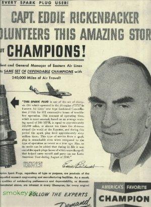 1950 CHAMPION spark plug full page ad   Capt. Eddie Rickenbacker volunteers this amazing story
