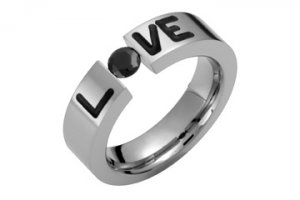 LOVE Titanium ring with Black cz or Onyx -Directly from the manufacturer- Design your own ring!