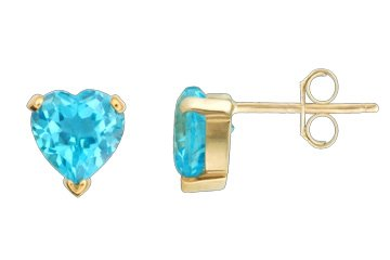 Blue Topaz Heart Shape 14K Yellow Gold Earrings! Directly from the manufacturer!!