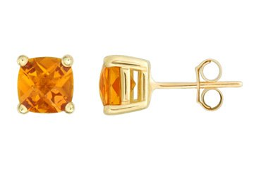 Citrine Cushion Cut 14K Yellow Gold Earrings! Directly from the manufacturer!!