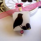Little Black Bird Scrabble Tile Necklace in a tiny tin