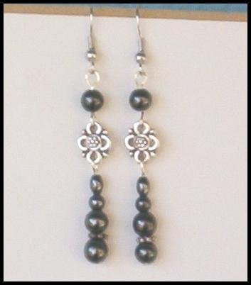 Healing HEMATITE ANTIQUE SILVER FLORAL Dangle Earrings