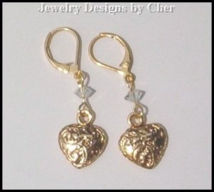 GOLD FILIGREE HEART CHARM EARRINGS Swarovski Crystals SALE