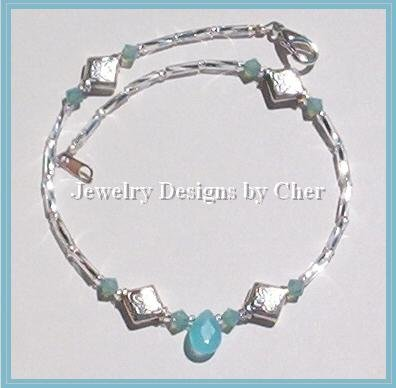 CELTIC SILVER AQUA CHALCEDONY & Crystal Anklet