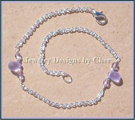 Alexandrite Matte Glass Teardrop & Silver Chain Anklet 10.5 Inch