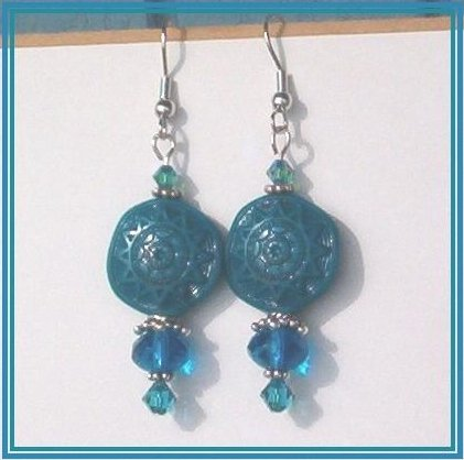AZTEC SUN COIN Teal Gemcut Swarovski Silver Earrings