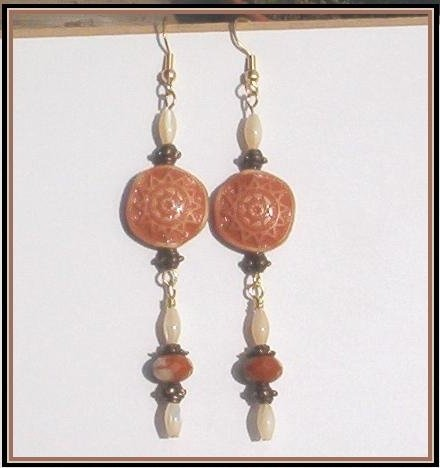 TAN AZTEC SUN COIN MotherOfPearl Antique Gold LONG Earrings