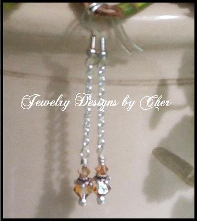 SWAROVSKI CRYSTAL COPPER EARRINGS Silver Chain Linear