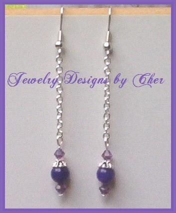 PURPLE JADE Swarovski Crystal CHAINED DANGLE Earrings
