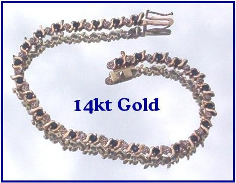 14Kt SAPPHIRE & DIAMOND TENNIS BRACELET 6.75 IN  Just Reduced!