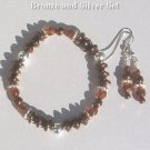 BRONZE BEAUTY  Bronze Crystal Silver Stretch Bracelet - Earrings