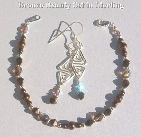 BRONZE BEAUTY SSILVER SET Smokey Topaz AB