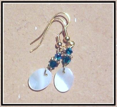 MOTHER OF PEARL DISC EARRINGS Swarovski *Peacock* Crystals & Gold Vermeil