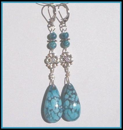 Bold TURQUOISE TEARDROP ANTIQUE SILVER Earrings SALE!