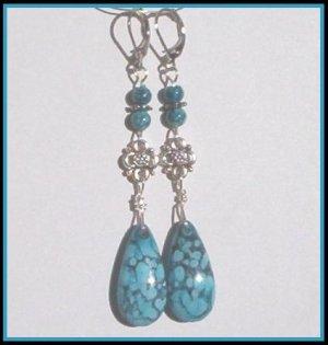 Bold TURQUOISE TEARDROP ANTIQUE SILVER Earrings SALE!