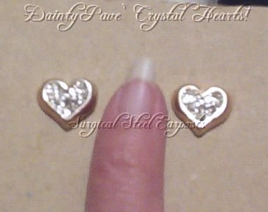 Vintage PETITE PAVE CRYSTAL HEART STUDS Surgical Posts SALE