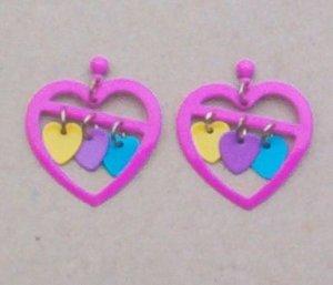 HEARTS IN HEARTS Colorful Enamel Earrings - Vintage Dangles