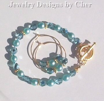 Aqua Pearls & Crystals, 2Pc Gold Set... Hoop Earrings & Toggle Bracelet